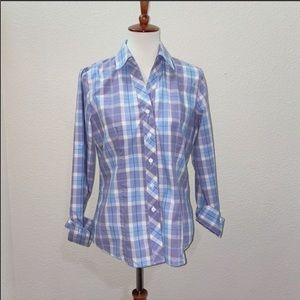NWOT Foxcroft Plaid Button Down Size 6